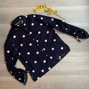 Max Jeans navy & white polka dot button up.